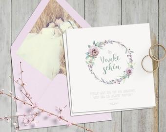 Danksagungskarte zur Hochzeit | mit Bild | Vintage | Pastell und Wasserfarben Optik