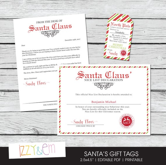 Santa letter kit letter from santa nice list certificate spiritdancerdesigns Image collections