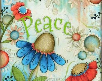 Wildflowers Art Print~ Flower Wall Art~ Coral Art~ Peace~ Wildflower Decor Theme~ Home Wall Decor~ Flower Theme~ Fun Whimsical Art