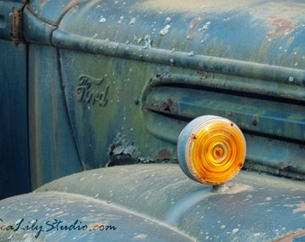 My Hometown : old truck photography americana photo abandoned vintage ford classic relic blue teal home decor 8x12 12x18 16x24 20x30 24x36