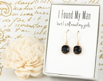 Black Gold Square Earrings, Gold Black Earrings, Black Wedding Jewelry, Bridesmaid Gift, Bridesmaid Earrings, Bridal Accessories