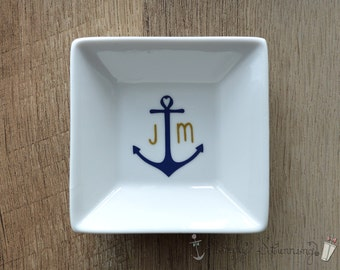 Personalized Ring Dish, wedding gift, engagement gift, Jewelry dish, bride to be, Anchor, nautical.