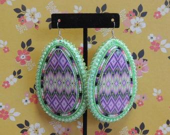 Large tear-drop native beaded earrings