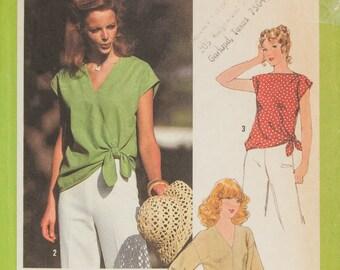 1970s Blouse pattern, Vintage Simplicity 8587, V Neck Blouse, Bateau Neck blouse, Front tie Blouse, Drop shoulder sleeve blouse, Bust 36