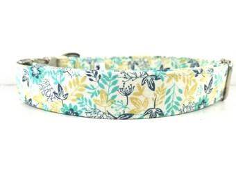"Mint Floral Dog Collar - Pretty Dog Collar - Mustard Flower Dog Collar - Girl Dog Collar - Dog Collar for Girls ""The Malasia"""
