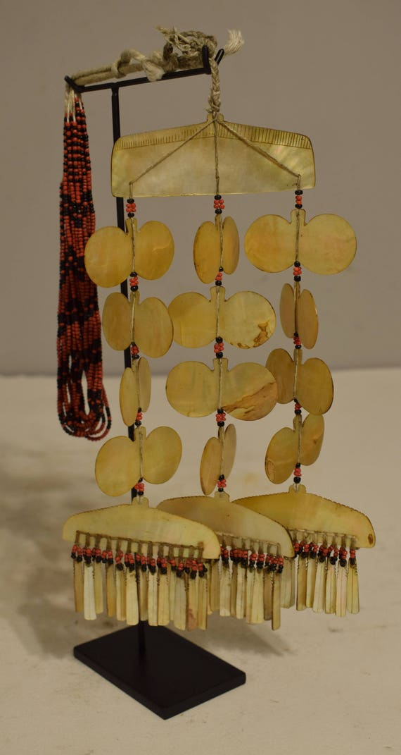 Philippines Sipattal Mother of Pearl Necklace Ineg Tribe Ceremonial Beaded Necklace