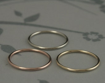 14K Roll Me Round Gold Band-Solid 14K Gold Full Round 16 Gauge Band 1.25mm-Yellow, White or Rose Gold-Great Spacer Band