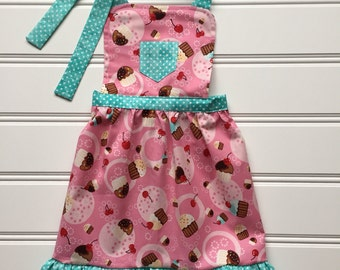Cupcake Apron for Kids, Kids Apron, Child Apron, Kids Cooking Apron, Toddler Apron, Kitchen Apron, Little Girl Apron, Birthday Party Apron