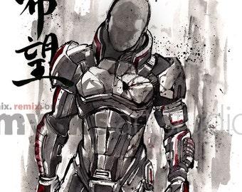 8x10 PRINT Mass Effect Commander Shepard Japanese Calligraphy HOPE
