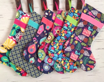 READY TO SHIP - Design Your Own Set of Christmas Stockings in Navy