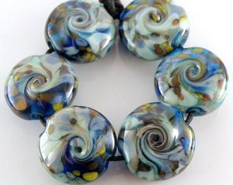 Under the Sea SRA Lampwork Handmade Artisan Glass Lentil Beads 18mm Made to Order Set of 6