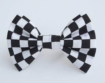 Black and White Checkerboard Bow Tie