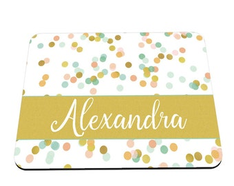 Personalized Mouse Pad - Gold Polka Dot Personalized Gift for her - Coral Mint