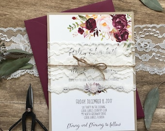 Lace  Wedding Invitation, Burgundy, Floral Wedding Invitation, Rustic Wedding, Marsala Invitation, Boho Chic, Marsala Wedding, Boho Chic