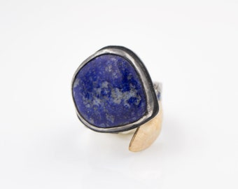 Lapis - Rainbow Moonstone - Hammered Sterling Silver - Gold-Filled - Adjustable Ring