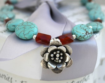 Turquoise and Carnelian Necklace with Hill Tribes Silver flower