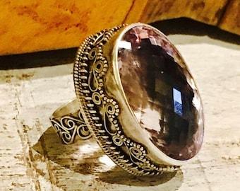 MothersDaySale Bold Beautiful Faceted Purple Lavendar Amethyst Stone Ornate Sterling Silver Vintage Ring