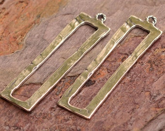 Pair Tall Open Rectangle Earring Components, Artisan Sterling Silver Long Rectangle, E-560
