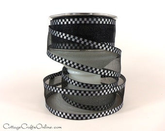 "Wired Ribbon 1 1/2"" Black Sheer with White Woven Check Edge - THREE YARDS - May Arts Checked Craft Wire Edged Ribbon"