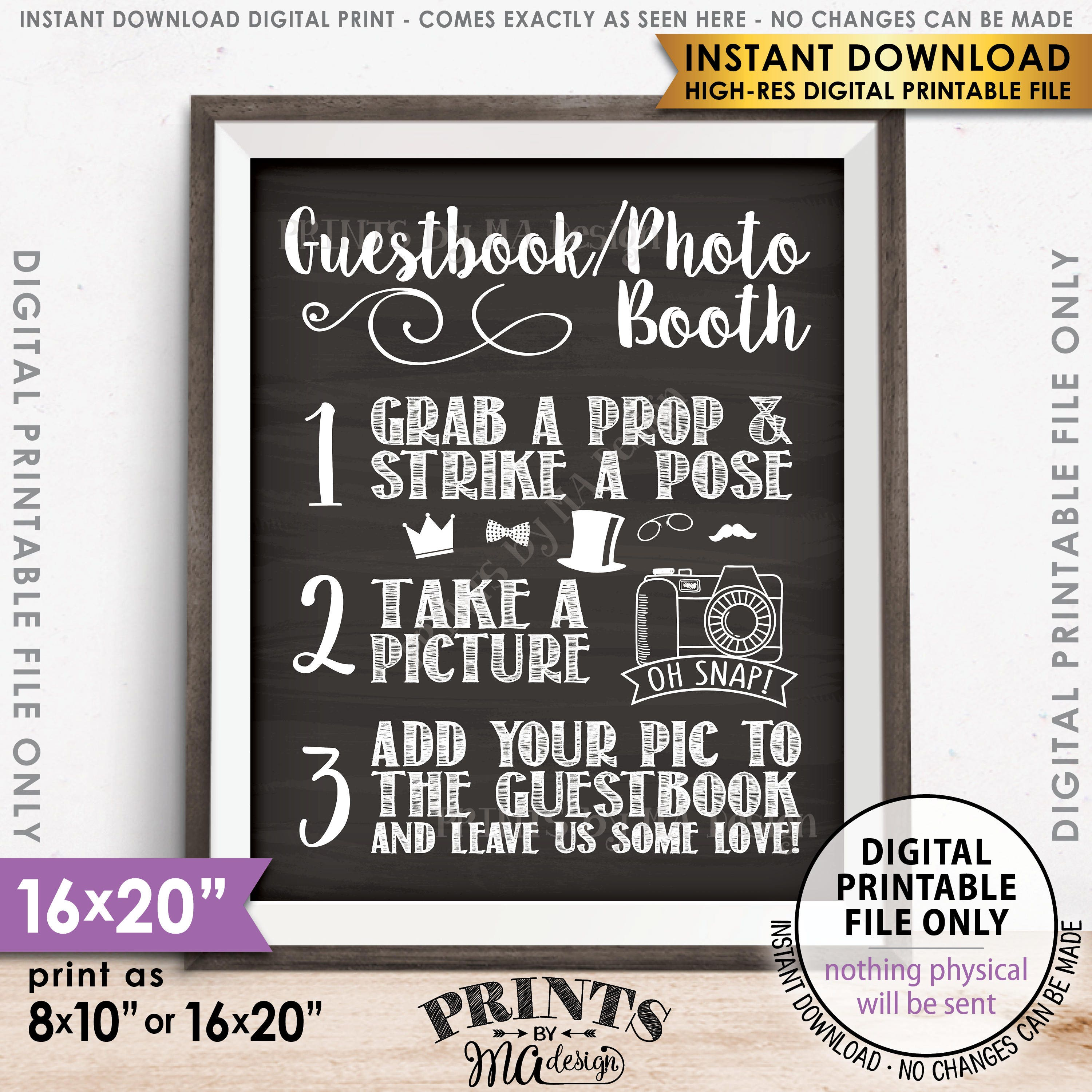 Wedding Photo Guestbook: Guestbook Photobooth Sign Add Photo To The Guest Book Sign