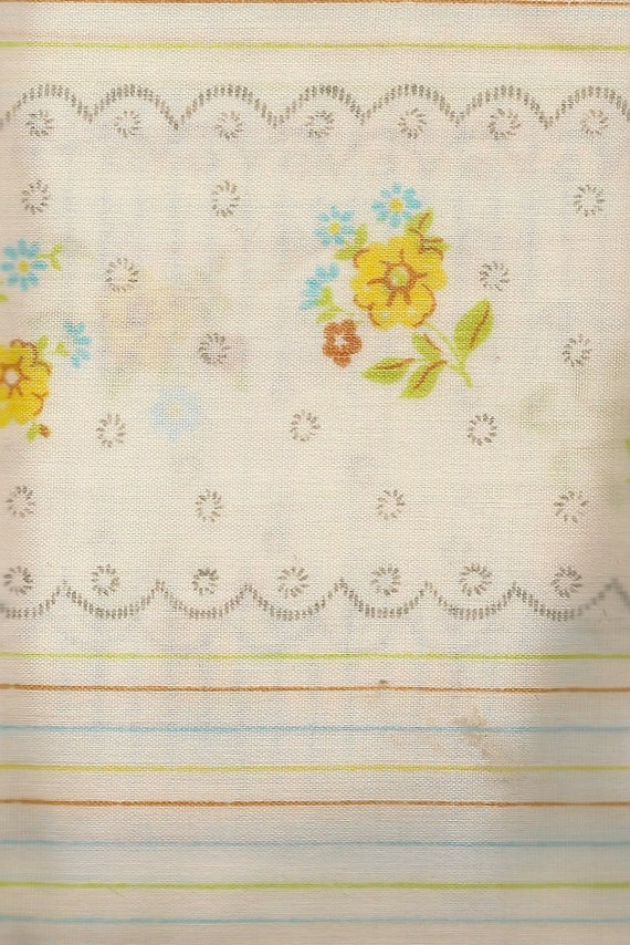 Floral Tablecloth with Stripes Yellow, Red, and Blue Flowers with Pale Green Stems and Leaves + Vintage