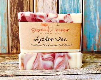 Lychee Red Tea Goats Milk Soap, Farm Soap, Sweet River Farm, Sweet River Soap Co