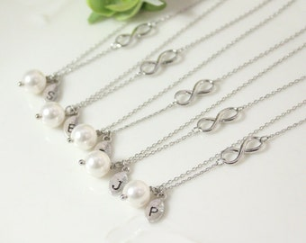 Bridesmaid gifts - Set of 7, 8, 9, 10 -Leaf initial, white pearl necklace,Infinity charm, Personalized necklace, Swarovski Pearl