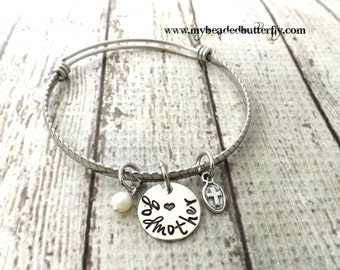 godmother gift-godmother bracelet-godmother jewelry-personalized gift-baptismal gift-christening gift-sponsor gift-religious jewelry