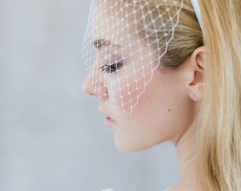 "Wedding Hair Accessory , Bridal Birdcage, French Netting - ""Gisele"""