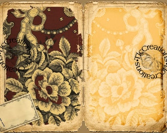 Antique Fabric Printable Vintage Junk Journal Kit, Journal Papers and Journal Cards, Notebooks, Scrapbook