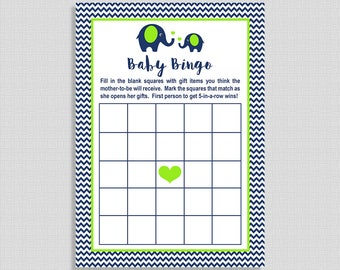 Baby Bingo Game, Navy & Lime Elephant Baby Shower Game, Chevron, Baby Boy, INSTANT PRINTABLE