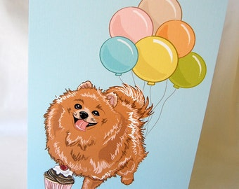 Pomeranian 'n Balloons Greeting Card