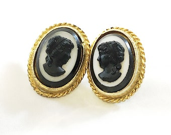 Vintage Cameo Earrings, Black and White on Goldtone Midcentury Earrings, Pierced Cameo Profile Jewelry FREE SHIPPING