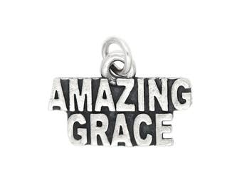 Sterling Silver Religious Charm Amazing Grace Charm Pendant