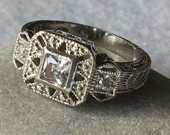 Ring-Sterling silver filigree, Art Deco style