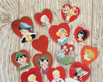"""Set of 13 Vintage 1930s Valentine Mini Cards, Gold ink, Sizes from 1"""" to 2"""" square on thick paper"""