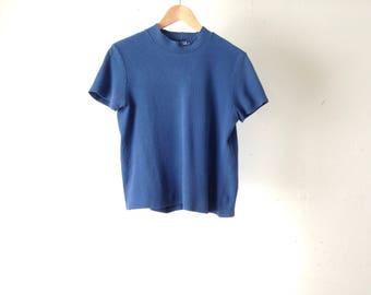 90s vintage striped navy blue RIBBED goth club kid long sleeve shirt