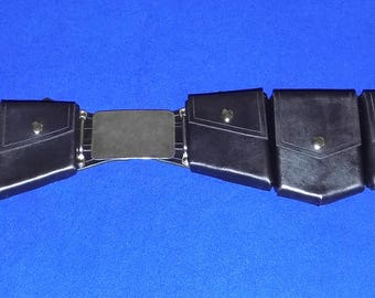 Leather Super Hero or Super Villain Utility Belt with Rectangle Buckles