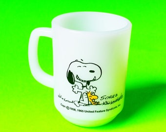 Fire King Anchor Hocking Snoopy and Woodstock This Has Been A Good Day New Condition Rare Collectible White Glassware Coffee Mug