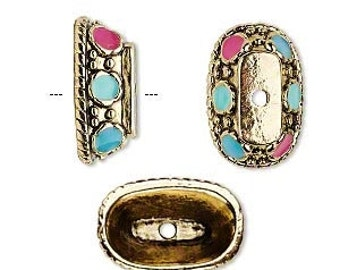 Oval Bead Cap, Gold Bead Cap, Turquoise and Pink, 19x12x7mm, 2 each D792