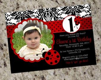 Ladybug Birthday Party Invitation | Ladybugs Party Invite | Girl Birthday Party Invitation | Ladybug | Lady Bug yTheme | Printable Design