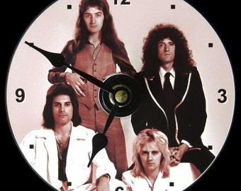 QUEEN Band Wall Clock - CD Size, 4.75 inch diameter. Freddie Mercury, Brian May, Roger Taylor, John Deacon. Rock legends. Makes a nice gift!