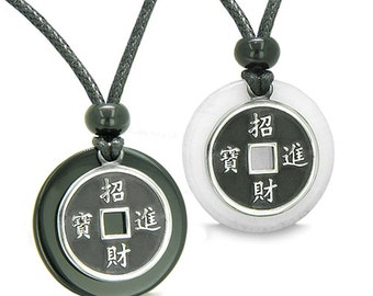 Amulet Love Couple Lucky Coins Black Agate White Quartz Medallions Yin Yang Pendant Necklaces
