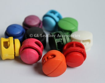 4 x Plastic Round Cord Locks Stoppers Toggle 11 Colors