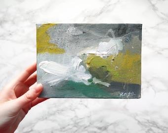 "Little Abstract Painting Art 5x7"" Acrylic on Mini Canvas"