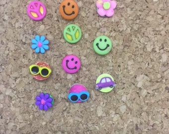 Retro Push Pins Thumb Tacks, Magnets  or wine charms x11, Smiley Face Peace Sign Cork Board Decor, Hippie Flower Child Push Pins