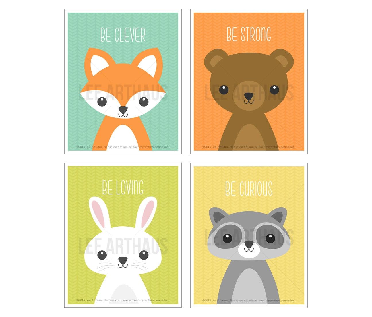 4S Nursery Art Set Woodland Animal Print Set Fox Wall Art