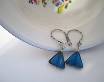 Czech Glass - Triangle Bead Dangle Earrings - Transparent - Picasso Finish Drop Earrings - Blue