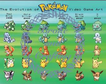 Evolution of Pokemon Video Game Art Poster