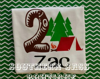 Camping Theme Birthday Shirt